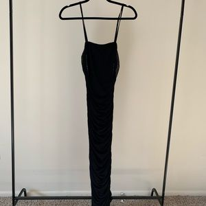 9d09e9f9967 PrettyLittleThing Dresses - PLT Black Strappy Mesh Ruched Midaxi Dress NWOT